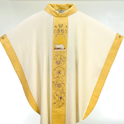 Lamb of God Hand Embroidered Chasuble and Stole