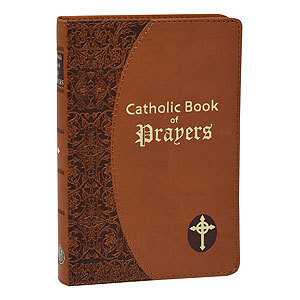 CATHOLIC BOOK OF PRAYERS- BROWN IMITATION LEATHER TAN IN LARGE PRINT