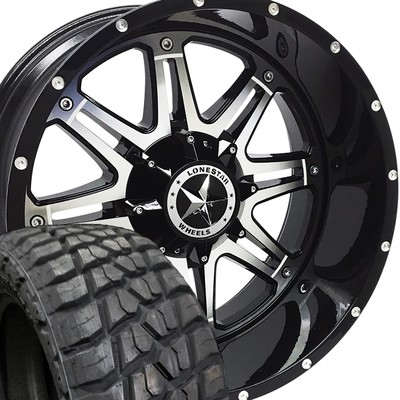 22x12 Lonestar Gloss Black with Mirror Face Outlaw + 35