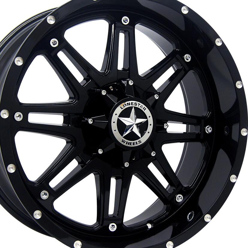 20x9 Gloss Black Outlaw Wheel, 5x5.5 (5x139.7mm) 13mm Offset, Ram 1500