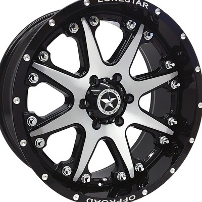 20x9 Gloss Black & Brushed Face Lonestar Bandit Wheel, 5x5.5 (5x139.7mm)  0mm Offset