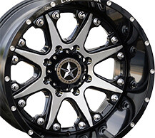 20x12 Gloss Black & Brushed Face Lonestar Bandit Wheel, 8x180mm -44mm Offset