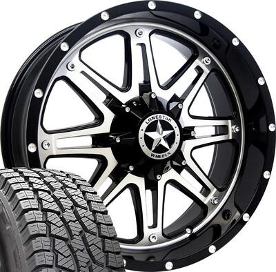 20x9 Mirror Face Lonestar Outlaw Wheel & 275/55 AT tires - 6 LUG