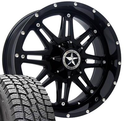 20x9 Gloss Black Lonestar Outlaw Wheel & 275/55 AT tires - 6 LUG