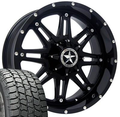20x9 Gloss Black Lonestar Outlaw Wheel & 275/55 AT MICKEY THOMPSON tires - 6 LUG