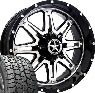 20x9 Mirror Face Lonestar Outlaw Wheel & MICKEY THOMPSON 275/55 AT tires - 6 LUG