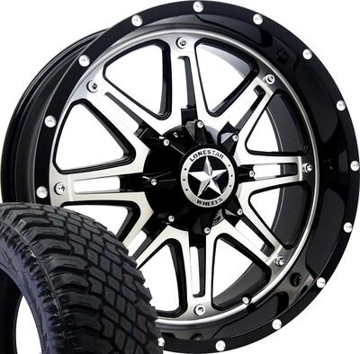 20x9 Mirror Face Lonestar Outlaw Wheel & XT 275/55 AT tires - 6 LUG