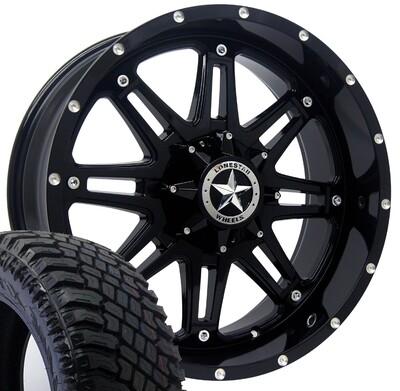 20x9 Gloss Black Lonestar Outlaw Wheel & 275/55 XT tires - 6 LUG