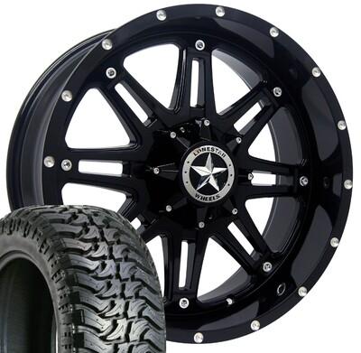 20x9 Gloss Black Lonestar Outlaw Wheel & 33