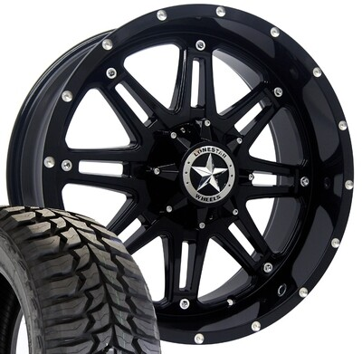 20x9 Gloss Black Lonestar Outlaw Wheel & 35