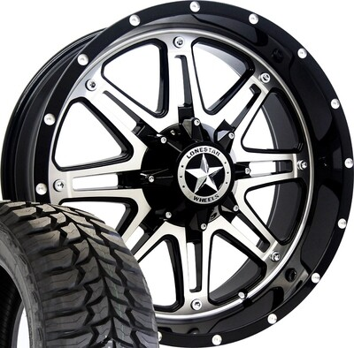 20x9 Mirror Face Lonestar Outlaw Wheel & 35