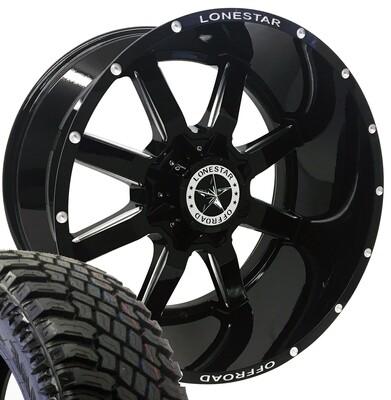 22x12 Gloss Black Lonestar Gunslinger Wheel & 325/50 Atturo XT tires - 8 LUG