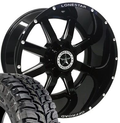22x12 Gloss Black Lonestar Gunslinger Wheel & 35