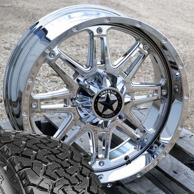 Four 20x9 Chrome Lonestar Outlaw Wheels 6 Lug with 33