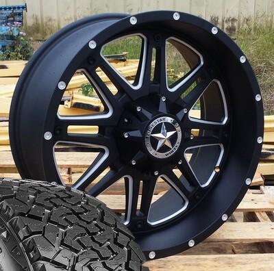 Four 20x9 Matte Black Lonestar Outlaw Wheels 5 Lug with 33