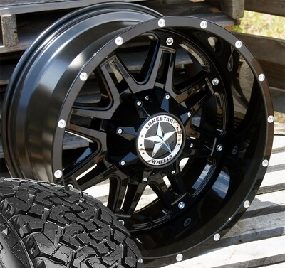 Four 20x10 Gloss Black Lonestar Outlaw Wheels 8 Lug Ram  35