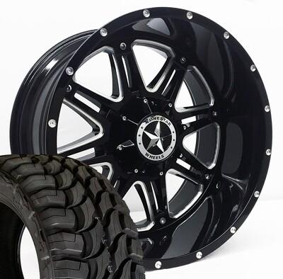 Four 22x12 Gloss Black Lonestar Outlaw Wheels 8 Lug Ram  35