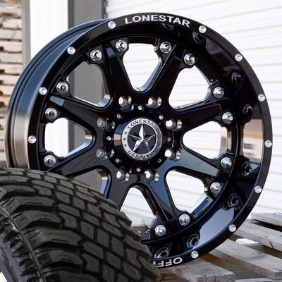 Four 20x10 Gloss Black  Lonestar Bandit Wheels 8 Lug Ford  35