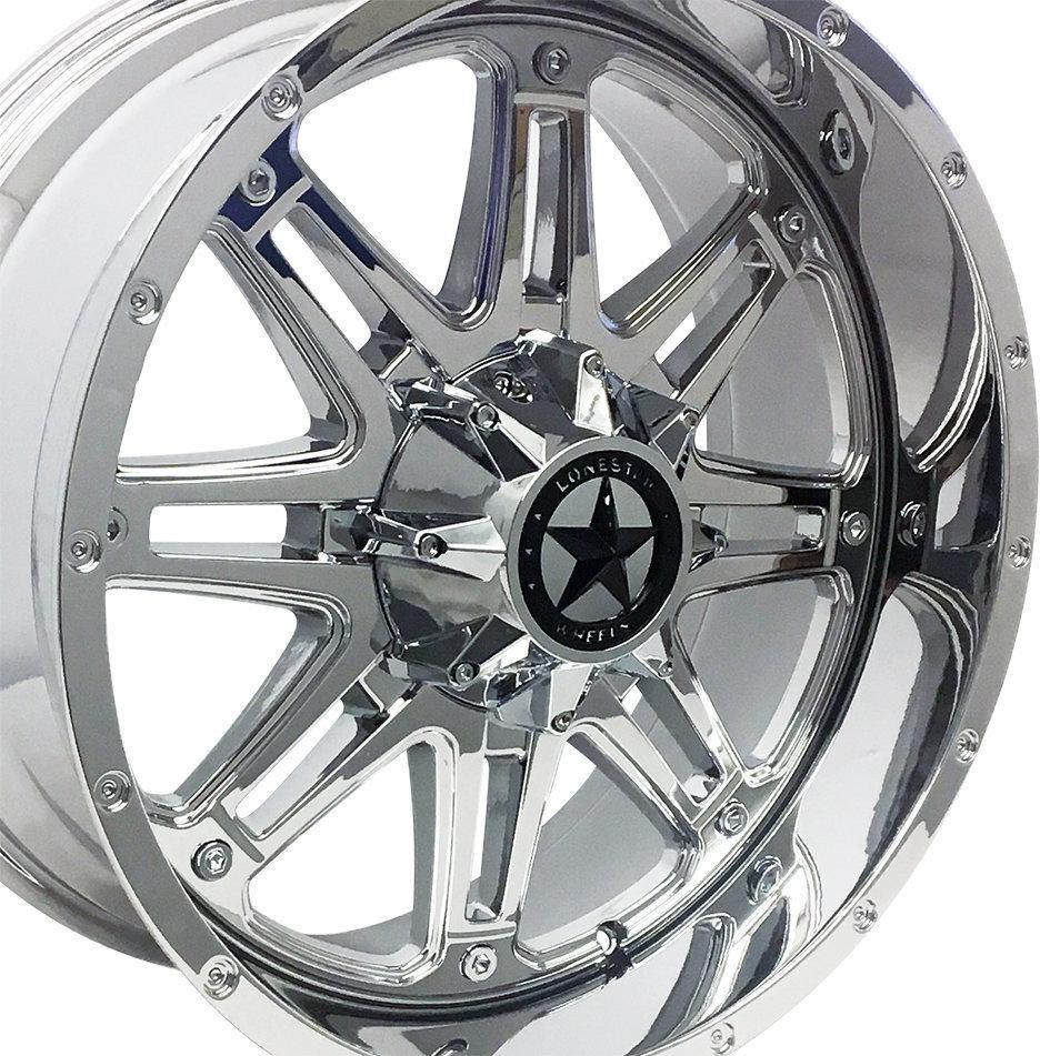 20x9 Chrome Outlaw Wheel, 5x5.5(5x139.7mm) & 5x5(5x127mm) +18mm