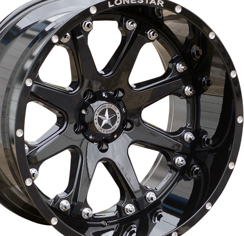 "22×12"" Black Lonestar Bandit Wheel Ram 1500 22 Inch Rims"