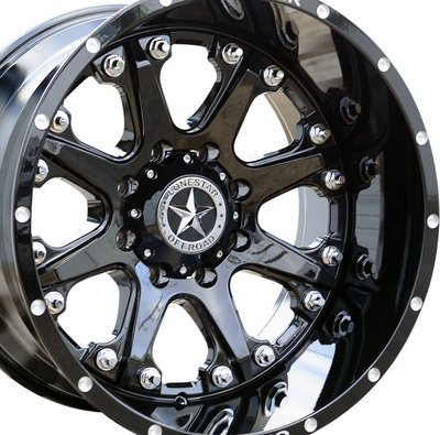 20x12 Gloss Black Lonestar Bandit Wheel, 8x180mm -44mm Offset