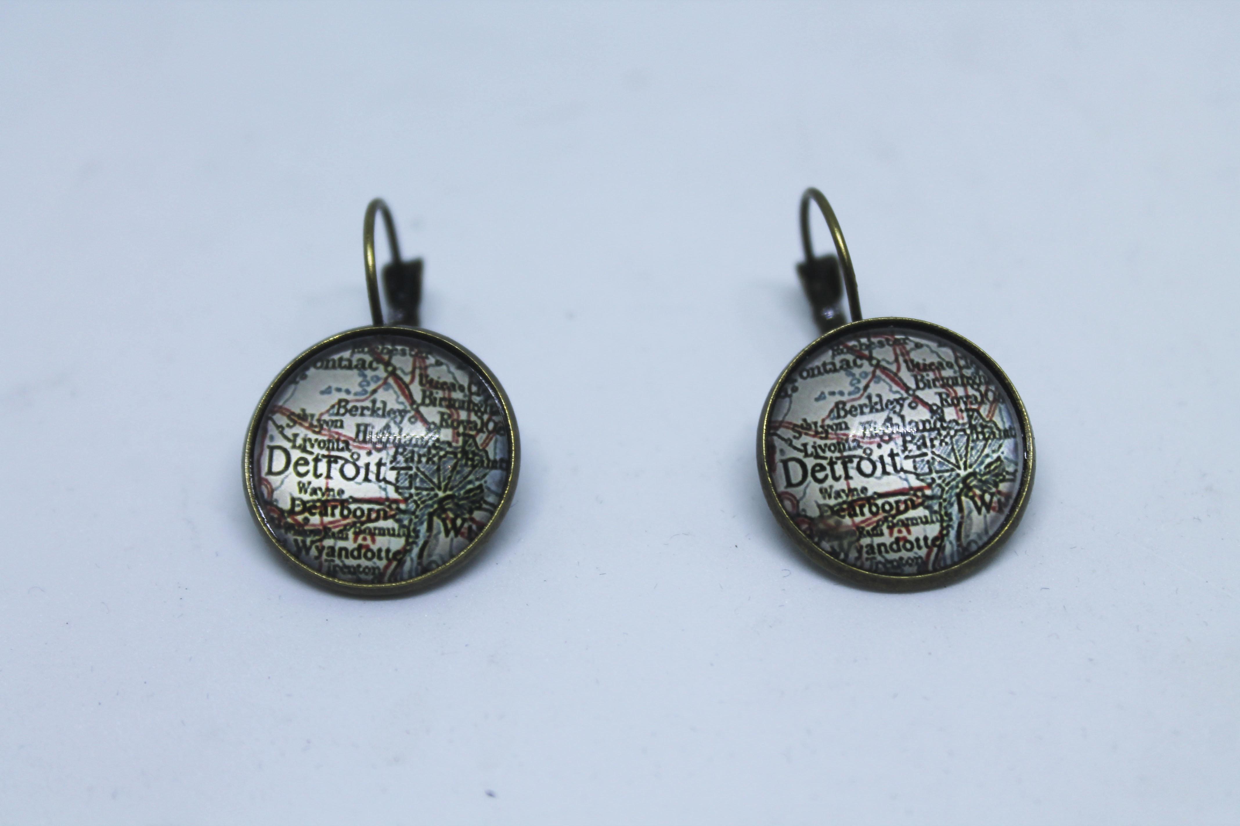 Bronze Detroit Map Earrings 00130