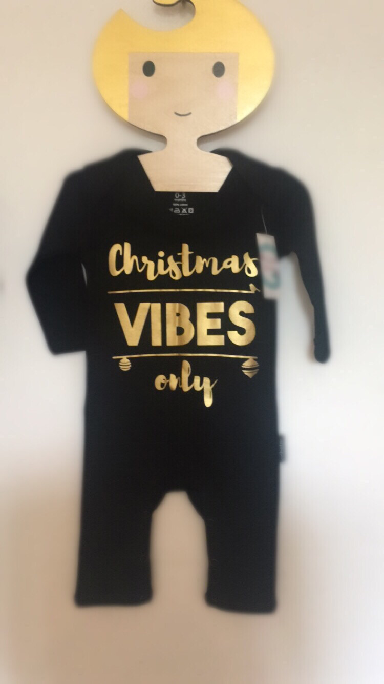 Cribstar  Baby Romper - CHRISTMAS VIBES ONLY gold print
