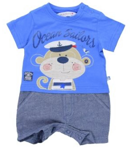 Minoti Sailor Monkey Baby Boy Short Romper