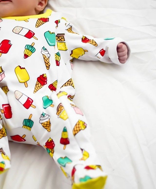 Lil' Cubs Yellow Retro Lollies Babygrow