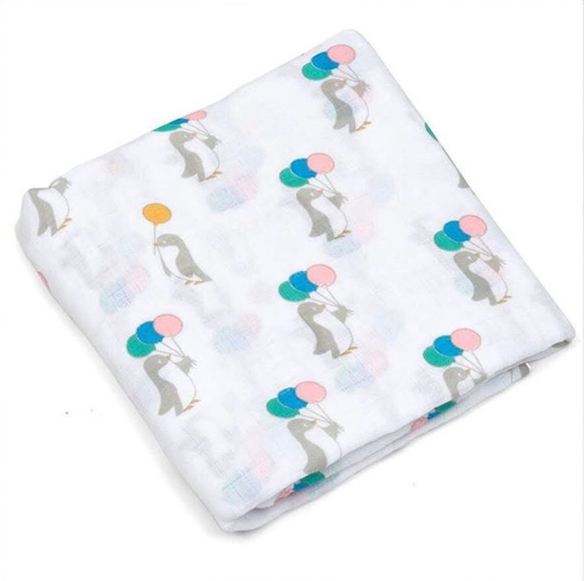 Lil' Cubs Grey Penguins with Balloons Swaddle Muslin