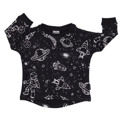 Cribstar Space Sweatshirt with Curved Hem