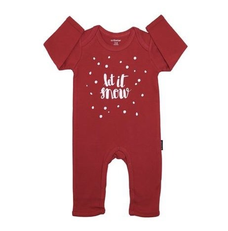 Cribstar Baby Romper Let it Snow Red & White Print