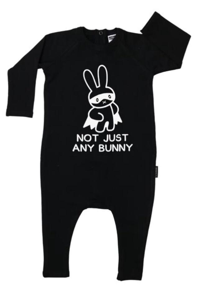 Cribstar Not Just Any Bunny  Harem Romper  - Black