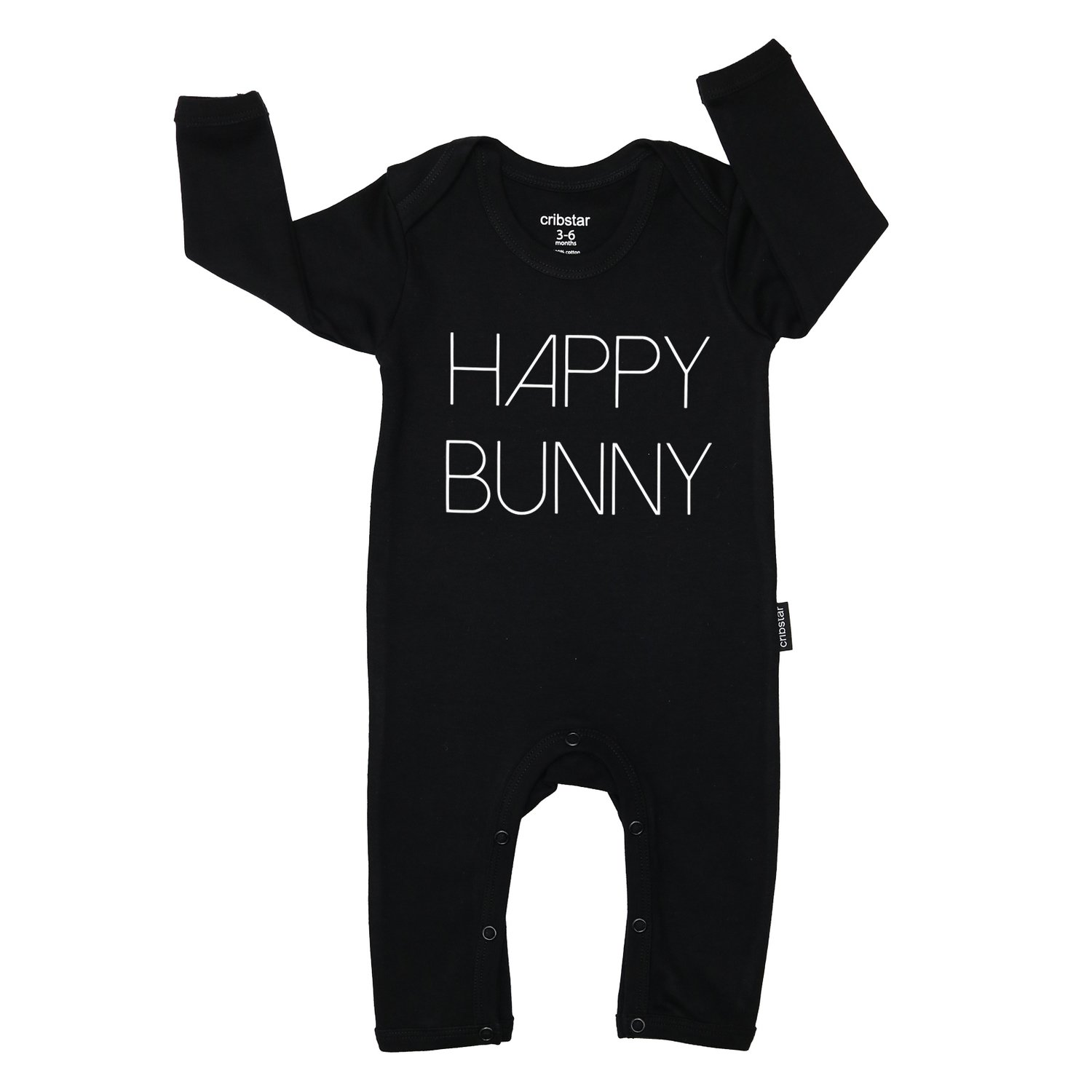 Cribstar Happy Bunny Baby Romper - Black