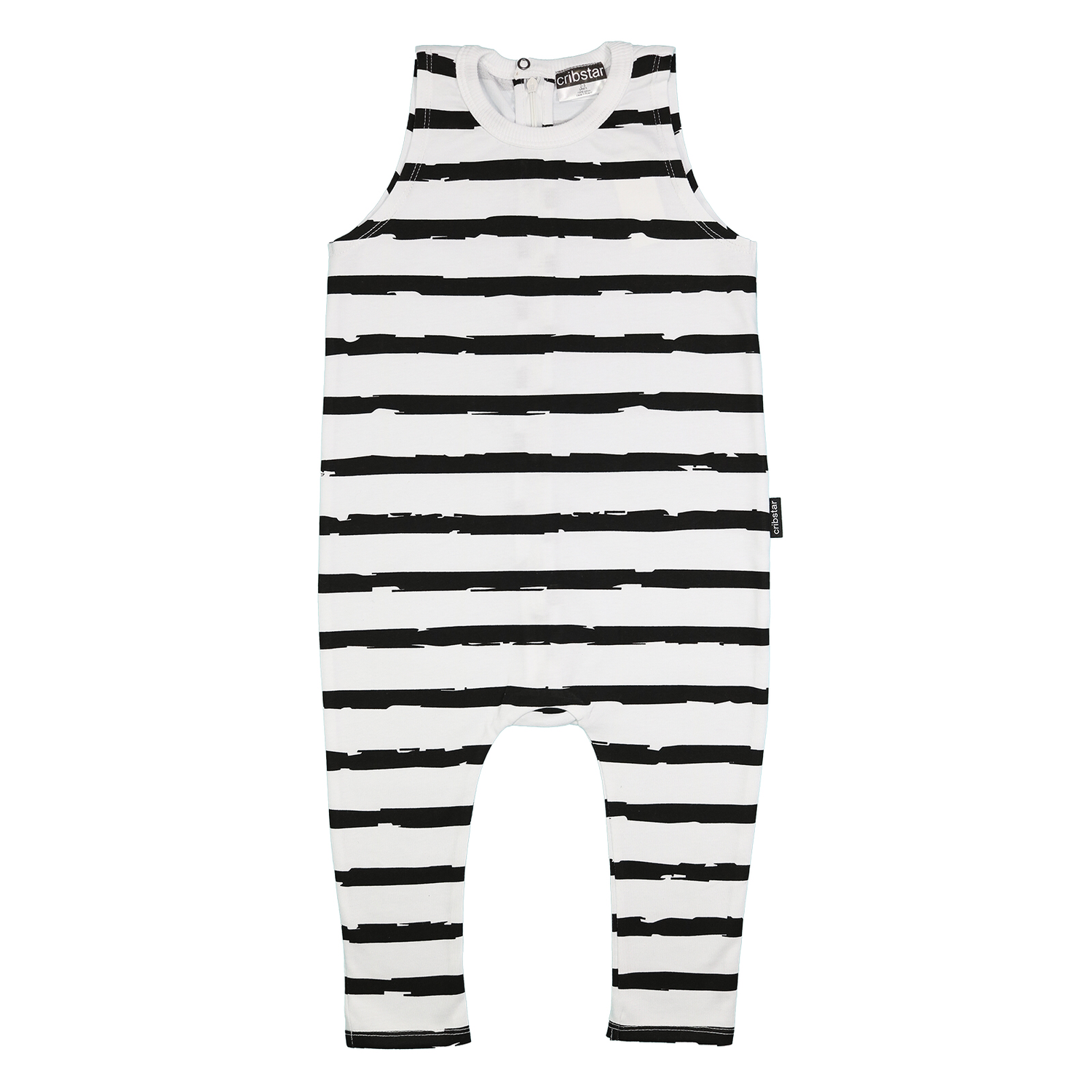 Cribstar Stripes sleeveless harem romper- black & white