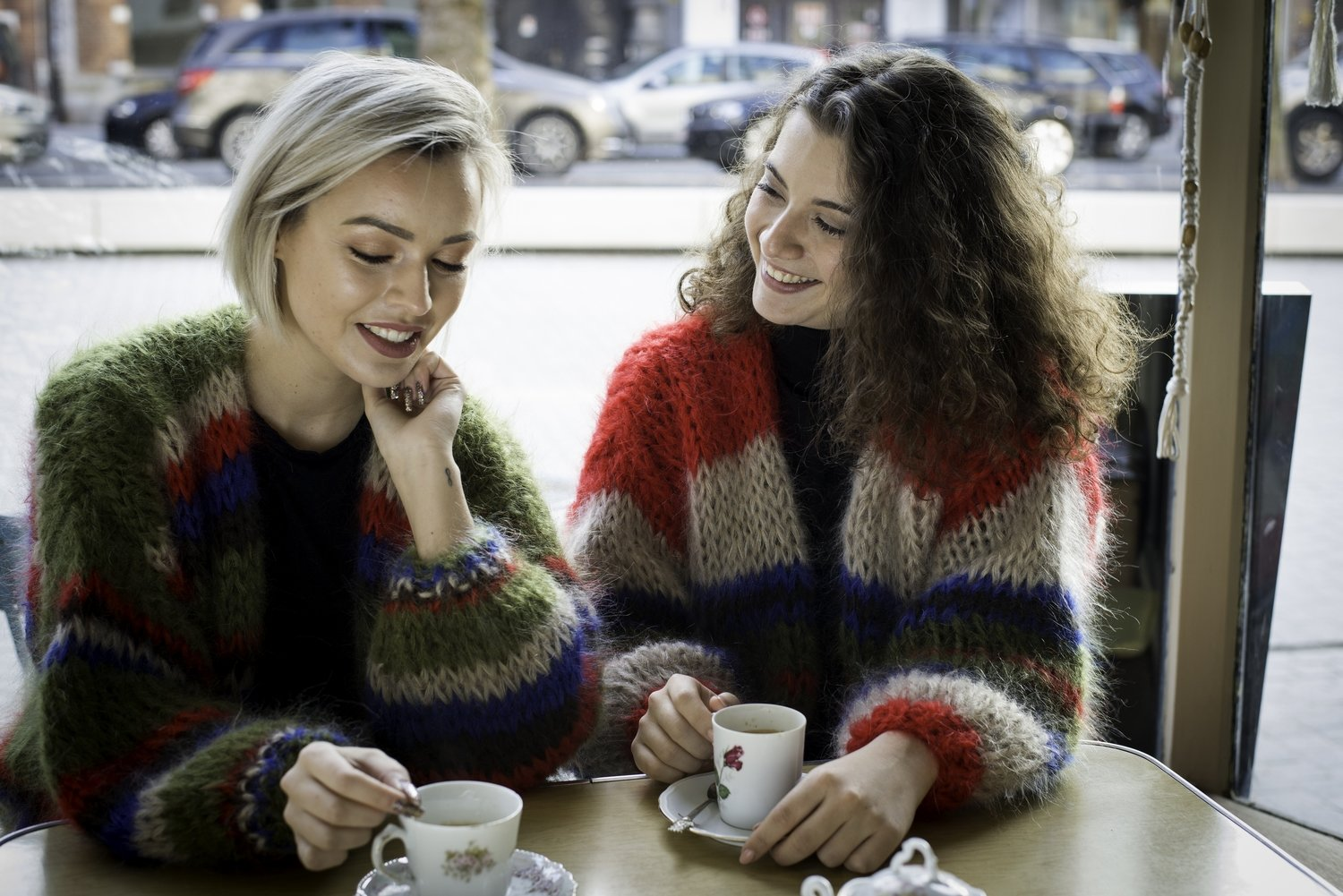 Cardigan - Red, Sand and Blue