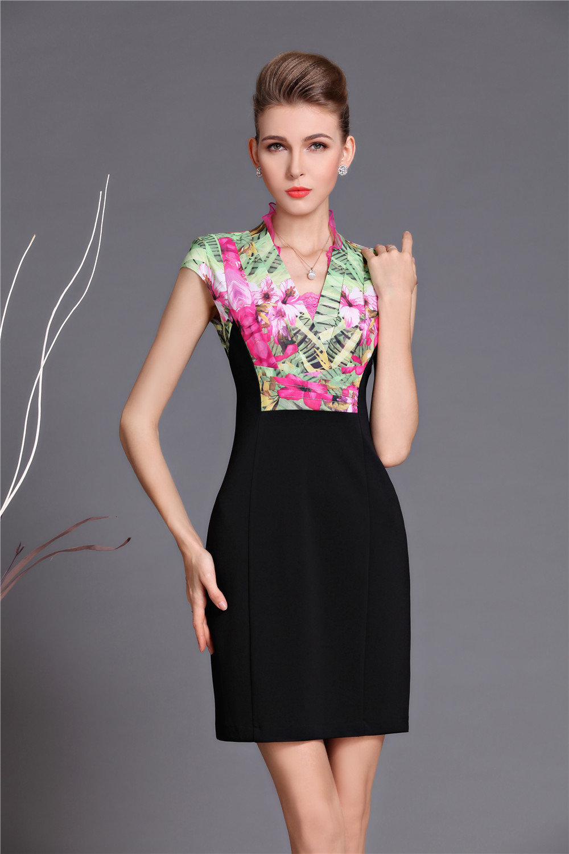 Floral work dress mandarin collar