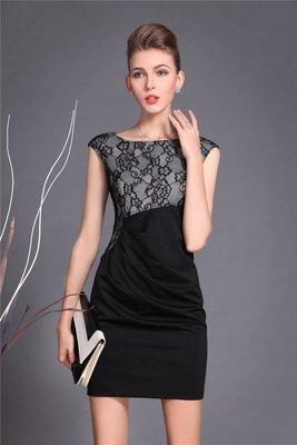 Black Lace Patchwork Dress Vintage Mother Dress