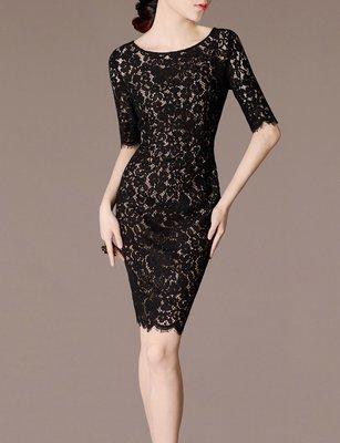 Black Lace Dress with Eyelash edges Vintage Wedding Dress