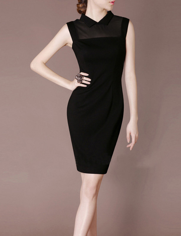 Mini Black Dress Retro Mandarin Collar Dancing Dress