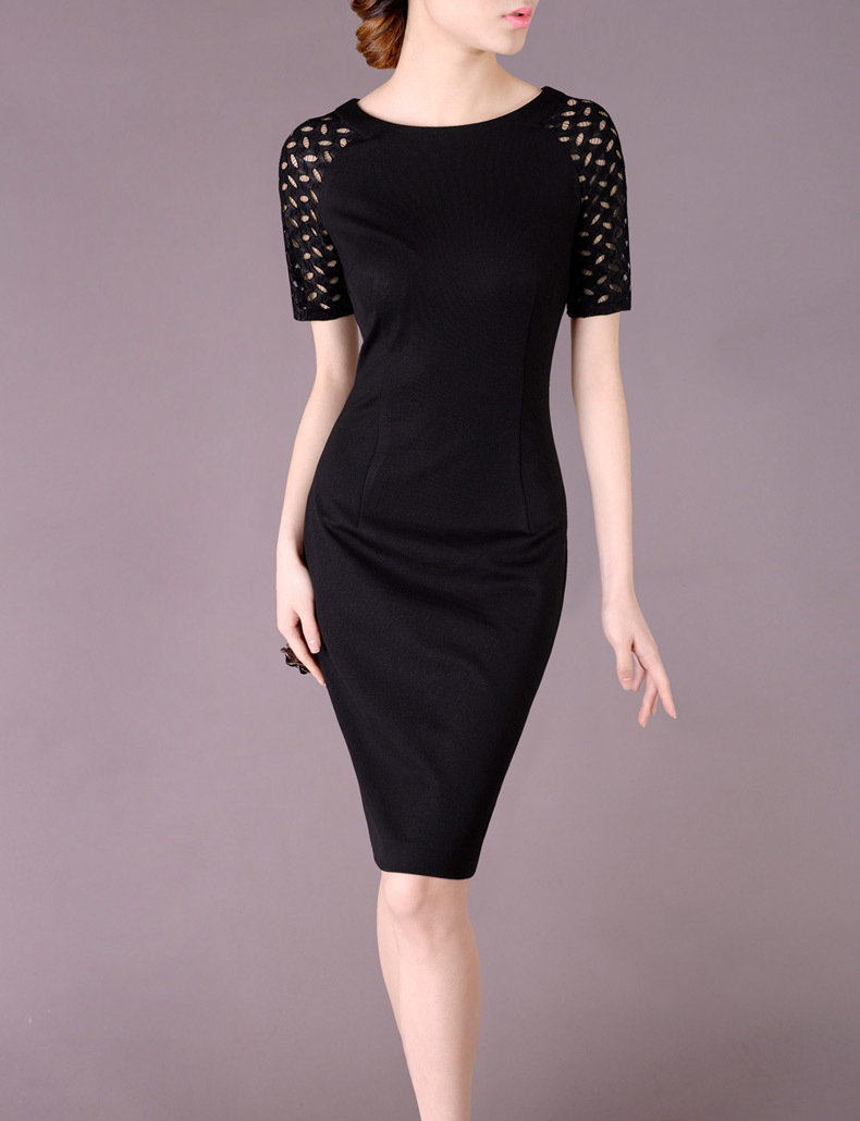 Elegant Black Dress with Cut-out Sleeves