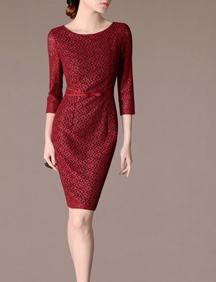 Christmas Red Lace Dress Mother Holiday Dress