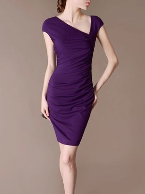 Purple Party Dress Pleated with slide V neck