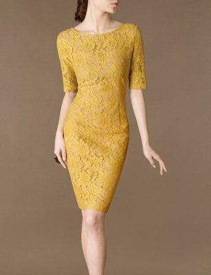 Custom Made Vintage Yellow Lace Dress Bridesmaid