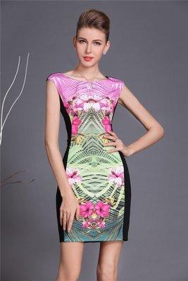 Pink Front Black Back Floral Mother Dress