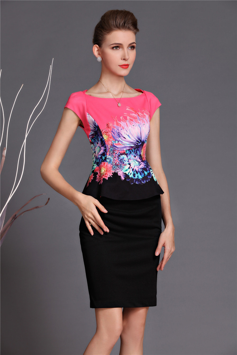 Elegant Mother Dress Business Attire Top and Skirt