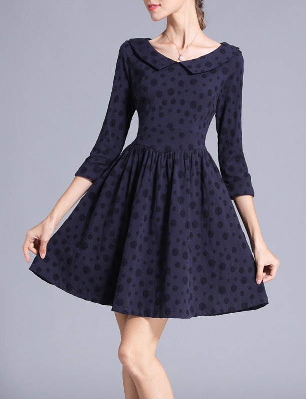 Navy Blue A Line Corset Dress with Peter Pan Collar