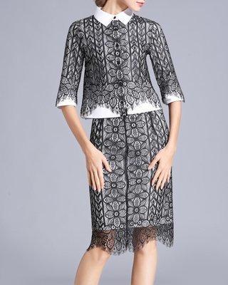 Stylish Lace Shirt Eyelash Dress Suits Custom Made
