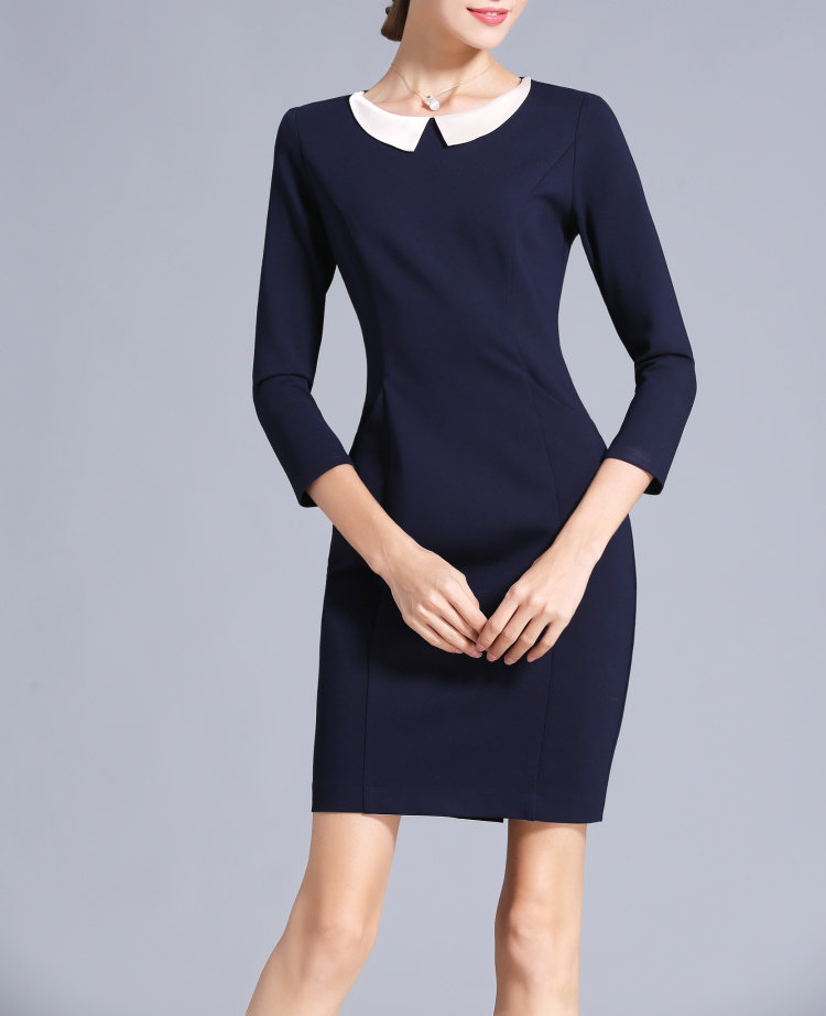 Navy Blue High Waist Dress Peter Pan Collar