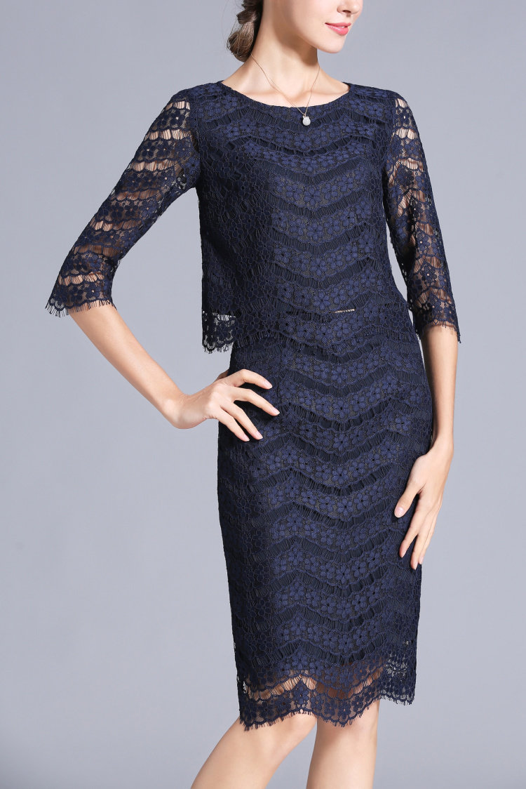 Navy Blue Lace Women's Church Suits